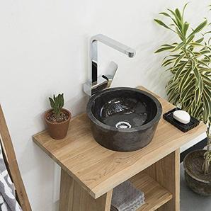 wohnfreuden schwarzes Marmorwaschbecken 30 cm Naturstein poliert rund