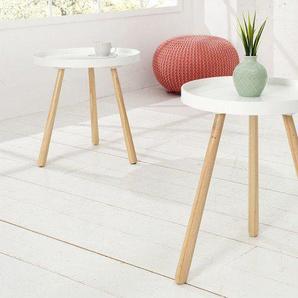 Retro Beistelltisch SCANDINAVIA 35cm weiß rund Scandinavian Design
