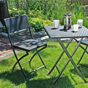 GARDEN PLEASURE Gartenmöbelset »VENTANA«, 3-tlg., 2 Stühle, Tisch, klappbar, Kunststoff