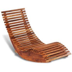 Festnight Holz Schaukelstuhl Sonnenliege Aus Akazienholz Gartenstuhl  Holzschaukelstuhl 149 X 60 X 86 Cm