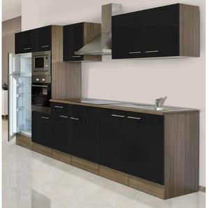 Respekta Küchenzeile KB330EYSMIGKE 330 cm Schwarz-Eiche York Nachbildung