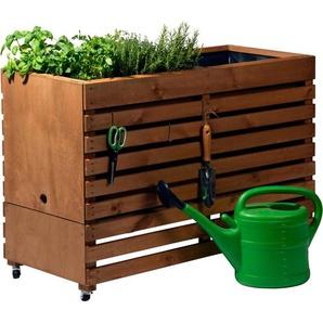 Dobar Doppel-Hochbeet Rolling Garden XL 71 cm x 50 cm x 100 cm Bernstein
