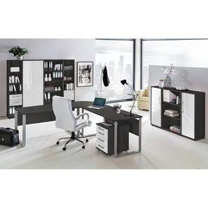 Büromöbel Set TALLINN-16 anthrazit, Hochglanz weiß, 11-teilig, 205x205cm Eckschreibtisch mit Metallkufen