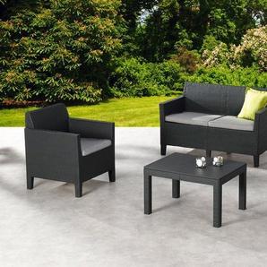 Loungeset »Chicago«, 4-tlg., 2er-Sofa, 2 Sessel, Tisch 78x59 cm, Kunststoff