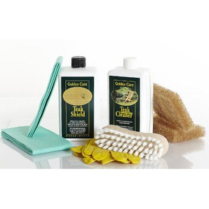 GOLDEN CARE Teak Shield + Cleaner Holzpflegeset 8tlg. Fleckenschutz Holz Reiniger Holzschutz Holzpflege für Gartenmöbel