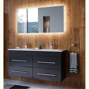 Badmöbelset mit Keramikwaschbecken LAOS-02 schwarz Seidenglanz inkl. LED Spiegel mit Touch-Funktion 2-teilig B/H/T: 122/200/46cm