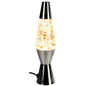 Vevendo Glitter-Lampe Lavalampe Motion Leuchte - Retro Deko-Lampe im Vintage Design, Höhe 26 cm, Farbe: silber, Glitzer: gold - 57/12967