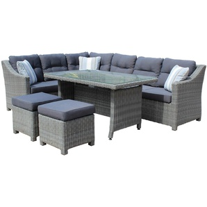 Gartenmöbel-Set mit Polster- und Dekorationskissen in grau aus grauem Polyrattan, 4-tlg. mit Eckbank, Tisch und 2 Hockern