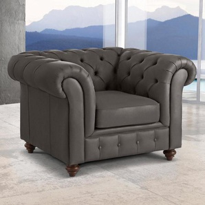 Premium collection by Home affaire Sessel »Chesterfield«, braun, NaturLEDER®