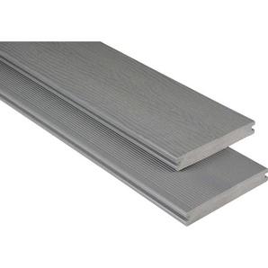 Kovalex WPC Terrassendiele Massiv m. Struktur Grau Zuschnitt 2x14,5x490cm