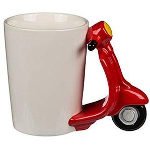 Haus und Deko Tasse mit Motorroller-Griff origineller Keramik-Becher Kaffeetasse in Weiß mit Farbigem Henkel Retro Design Roller in Rot