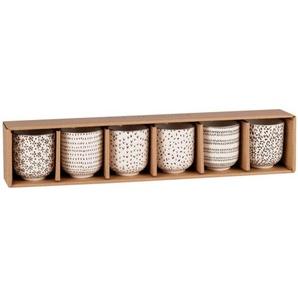 Set mit 6 Tassen aus Fayence mit grafischen Motiven, schwarz und weiß