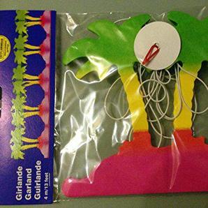 3 Papier-Girlande Palmen je 4 m Farbe: gruen, gelb, rot, pink, Hoehe: ca. 17 cm, Länge: ca. 4 m, Material: Papier, Pappe, Schnur schwer entflammbar