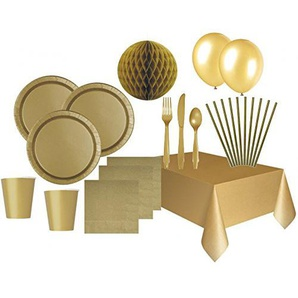 XXL 80 Teile Party Deko Set Gold für 8 Personen
