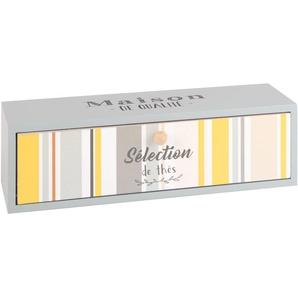 Tee-Box mit grauer Schublade und mehrfarbigem Bayadère-Aufdruck