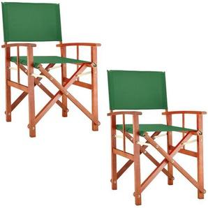 Deuba® Gartenstuhl 2er Set Cannes FSC®zertifiziertes Eukalyptusholz Regiestuhl faltbar Klappstuhl Grün