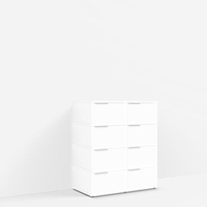 Konfigurierbare Kommode mit Türen. Aus Spanplatte in Weiß.