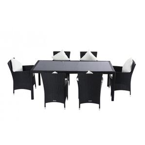OUTFLEXX Esstischgruppe, schwarz, Polyrattan, 6 Pers,. 200x100cm, innenl. Glas-Tischplatte