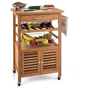 Klarstein Louisiana • Küchenwagen • Rollwagen • Servierwagen • 4 Etagen • inklusive Schränkchen • herausnehmbare Schublade • Flaschenablage • Obstschütte • Bambusholz • braun