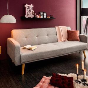 Design Schlafsofa SCANDINAVIA 210cm hellgrau 3er Sofa mit hochwertigem Aufbau