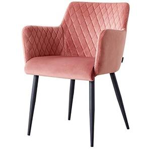 Damiware Rose Stuhl | Design Wohnzimmerstuhl Esszimmerstuhle Bürostuhl mit Samt Stoffbezug | Samt Rosa