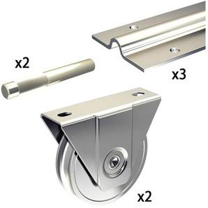 Ergänzungsset Schiebetorbeschlag SLIDUP 1600 mit Bodenlaufschiene 585 cm (3x 195 cm) für Tore bis 400 kg - SLIDUP BY MANTION