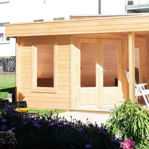WOLFF Set: Gartenhaus »Maja 40-A«, BxT: 699x349 cm, inkl. Fußboden und Anbaudach mit Rückwand