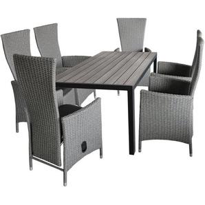 7tlg. Gartengarnitur Gartentisch, Polywood Tischplatte, 150x90cm + 6x Gartensessel grau-meliert, stufenlos verstellbar, inkl Sitzkissen - WOHAGA®