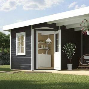 WEKA Set: Gartenhaus »Stellan 1«, BxT: 586x278 cm, mit Anbaudach