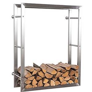 CLP exklusiver Kaminholzständer KERI für die Wand, rostfreier & robuster Edelstahl, Holzbutler in bis zu 8 Größen wählbar, 25 x 80 x 150 cm