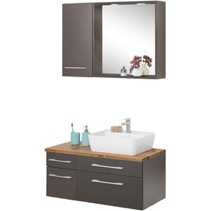 Badmöbel-Set mit Hängeschrank und Spiegel »Davos«, weiß, Becken rechts, Held Möbel