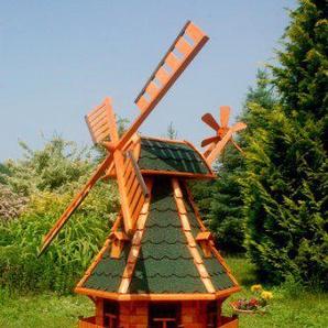 XXL Windmühle, Gartenwindmühle, Windmühlen aus Holz, Beleuchtung Solar kugelgelagert 1,50m imprägniert (grün)