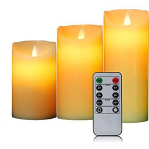 OxoxO 3 Flameless Candles Oblique Side Sway Real Wax Pillar LED Candles And 10-Key Remote control With 24-hour Timer--Height 12.5CM 15CM 18CM