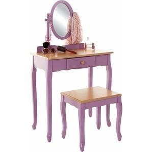 Home affaire Schminktisch mit Hocker und schwenkbarem Spiegel, lila