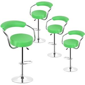Barhocker 360° frei drehbar höhenverstellbar mit Fußstütze und Rückenlehne für Küche Bar | Grün | 4er-Set - OOBEST