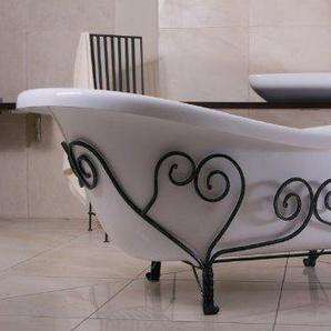 Casa Padrino Freistehende Luxus Badewanne Jugendstil Mediterran Weiß/Schmiedeeisen 1690mm - Antik Stil Badezimmer - Retro Antik Badewanne