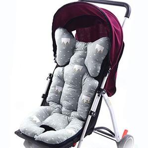 Godagoda Universal Kinderwagen Sitzauflage Wolke Stern Muster Baumwolle Wasserdichte Atmungsaktiv Sitzeinlage für Baby Kinderwagen Buggy 35x80cm (Grau)