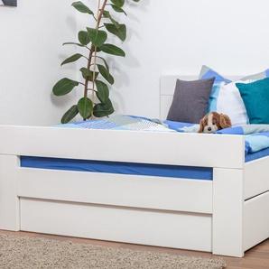 Einzelbett / Funktionsbett Easy Premium Line K6 inkl. 2 Schubladen und 1 Abdeckblende 140 x 200 cm Buche Vollholz massiv weiß lackiert