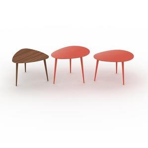 Couchtisch Rot - Eleganter Sofatisch: Beste Qualität, einzigartiges Design - 59/67/67 x 44/50/44 x 61/50/50 cm, Konfigurator