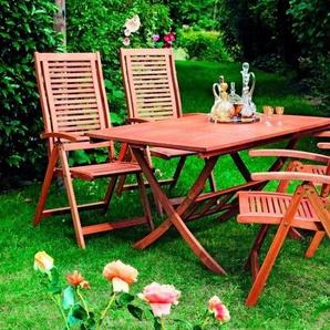 Merxx 5-tlg. Gartenmöbelset »Cordoba«, 4 Sessel, Tisch 110-160 cm,Eukalyptus