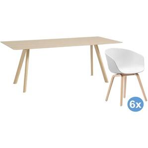 Hay Copenhague Tisch CPH30 Eiche Lackiert 200x90 Esszimmerset + 6 AAC22 Stühle