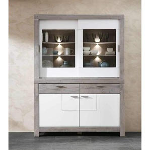 Wohnconcept Granada Speisezimmer-Set mit Beleuchtung 2-tlg. Haveleiche/Weiß