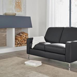W.schillig  2-Sitzer Ledersofa  »lazy«, schwarz, B/H/T: 142x44x51cm, hoher Sitzkomfort