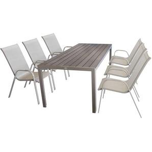 7tlg Sitzgruppe Gartentisch, Aluminiumrahmen, Polywood Tischplatte champagner, 205x90cm + 6x Stapelstuhl, Textilengewebe champagner - MULTISTORE 2002