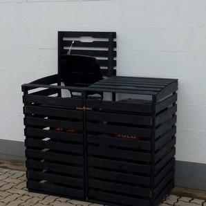 PROMADINO Mülltonnenbox , für 2x240 l aus Holz, B/T/H: 136/92/122 cm