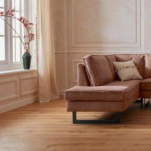 GMK Home & Living Ecksofa »Toulouse« mit offenen Kedernähten, Metallgestell und losen Kissen, braun, NaturLEDER