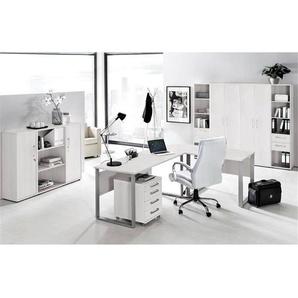 Büromöbel Set TALLINN-16 lichtgrau, 11-teilig, Eckschreibtisch mit Metallkufen