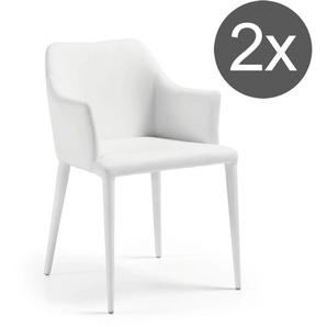 La Forma Danai Armlehnstuhl 54x57x80cm 2er-Set Weiß Pure White
