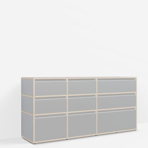Konfigurierbare Kommode mit Schubladen. Aus Multiplexplatte in Grau.