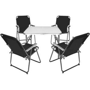 5tlg. Campingmöbel Set Klapptisch, Aluminium, 75x55cm + 4x Campingstuhl, Schwarz / Strandmöbel Campinggarnitur Gartenmöbel - MULTISTORE 2002